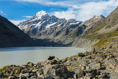 View of Hooker Glacier Lake and Mount Cook Royalty Free Stock Photography