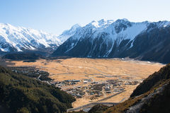 View Hooker Valley from above, mt. Сook Stock Images