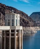 View of hoover dam las vegas nevada hydroelectric power plant. HOOVER DAM, USA - APRIL 15, 2019: View of hoover dam las vegas nevada, lake mead running into the royalty free stock photos