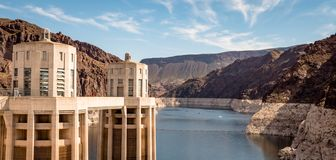 View of hoover dam las vegas nevada hydroelectric power plant. HOOVER DAM, USA - APRIL 15, 2019: View of hoover dam las vegas nevada, lake mead running into the royalty free stock image