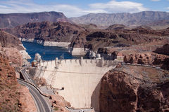 View of Hoover Dam from the Pat Tillman Bridge Stock Image