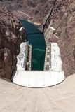 View from Hoover Dam to Colorado River, Arizona, Nevada, USA royalty free stock images