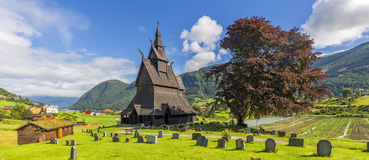 View of Hopperstad stavkirke, Norway Royalty Free Stock Photography