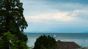 A view of the horizon of the Bodensee of Austria from the side of Germany. Royalty Free Stock Photos