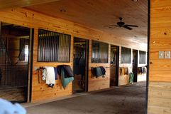View Of Horse Stalls in Middle, Tennessee. Equestrian Horse ranches are very poplar  in Middle Tennessee.  The term Equestrian refers to the skill of riding Stock Images