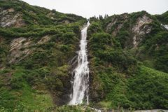 View of Horsetail Falls in Valdez Alaska in the Keystone Canyon. Along Richardson Highway stock photography