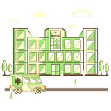 View of a hospital building with ambulance. Royalty Free Stock Images