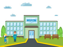 View of a hospital building with doctor and patient. Stock Photos