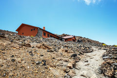 View of a hostel on the slope of El Teide Volcano Stock Photo