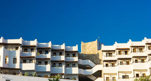 View of the hotel with balconies. A typical building in the city of Bodrum, Turkey Stock Photo