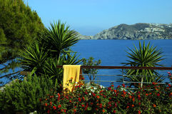 View from the Hotel Balcony. View of the sea from the hotel balcony on Crete island Stock Photos