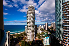 View from a Hotel Balcony. The view from a balcony in a Surfers Paradise resort on the Gold Coast Stock Photos