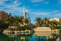 View of the hotel Burj Al Arab from Souk Madinat Jumeirah Stock Photos