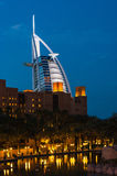 View of the hotel Burj Al Arab from Souk Madinat Jumeirah Royalty Free Stock Image
