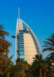 View of the hotel Burj Al Arab from Souk Madinat Jumeirah Royalty Free Stock Photography