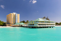 View of a hotel from a Catamaran in Carlisle Bay in Barbados. Carlisle Bay is a small natural harbor located in the southwest region of Barbados. The island Royalty Free Stock Image