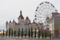 View of the hotel complex Hercules and a Ferris wheel with Olympic Park Royalty Free Stock Image