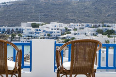 View from hotel deck mykonos Stock Photos