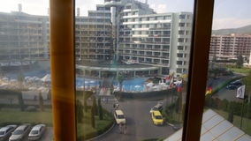 View of hotel Marvel from glass elevator in Victoria Palace hotel stock video