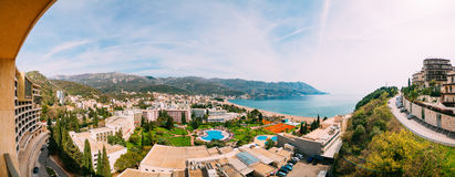 The view from the hotel on the promenade of Becici Stock Images