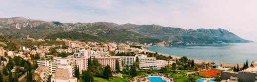 The view from the hotel on the promenade of Becici Royalty Free Stock Photos