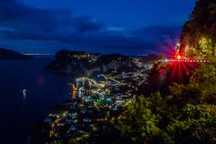 View from Hotel San Michele in Anacapri at dusk, Capri, Italy Stock Images