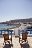 View hotel suite greek island. Greek island Mykonos view of Gialis Platis beach and cyclades architecture from hotel suite patio Stock Image