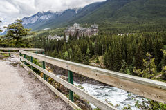 View of the hotel from Surprise corner in Banff Royalty Free Stock Images