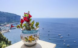 View from hotel to the Amalfi Coast near Vico Equense Stock Image