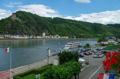 View from hotel window on Sankt-Goar embankment and Snak Goarsha Stock Photo