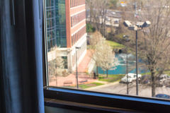 View from the hotel window to business center, parking, yard wit Stock Photo