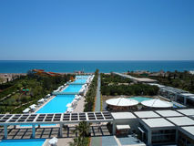View from Hotels balcony to territory in Antalya on a sunny day Stock Photos