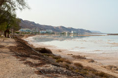 View of the hotels in Dead Sea Israel coastline. View of the health skin Psoriasis treatment  hotels in Dead Sea Israel coastline Royalty Free Stock Image
