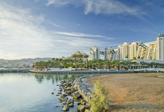 View on hotels, Red Sea and Eilat, israel Royalty Free Stock Image
