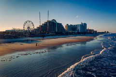 View of hotels and rides along the boardwalk from the fishing pi Stock Images