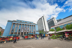 View of Hotorget with its outdoor market in Stockholm Royalty Free Stock Images