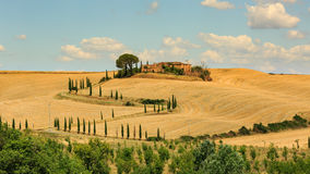 View of house with cypress trees in a field in the tuscan region Royalty Free Stock Photos