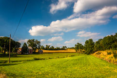 View of a house and farm fields in rural York County, Pennsylvan Stock Images