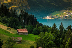 View of a house with mountain and lake background at Interlaken Royalty Free Stock Images