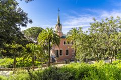 View of the house - the museum of Antoni Gaudi in Park Guell, Barcelona.  Royalty Free Stock Photo