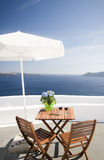 View house patio volcanic islands of santorini Stock Photo
