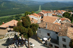 View of the house with red roofs and the valley Royalty Free Stock Photo