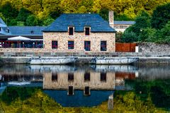 View house reflected on River in the port of Dinan royalty free stock photo