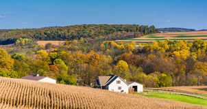 View of a house and rolling hills in rural York County, Pennsylv Stock Images