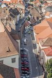 View of the house roofs, Sibiu city, Romania, Transylvania. View of the house roofs at the old city in Sibiu, Romania, Transylvania Stock Photos