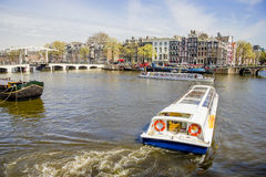View on houseboats, Amsterdam, Netherlands Royalty Free Stock Images