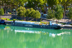 View of houseboats on the river in Lyon, France Royalty Free Stock Images