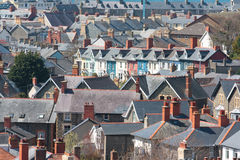 View of houses. In Aberystwyth showing terraces and roofs Royalty Free Stock Photos