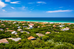View of houses and the Atlantic Ocean from Ponce de Leon Inlet L Royalty Free Stock Images