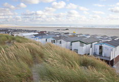 View at houses on beach with sea in IJmuiden Royalty Free Stock Image